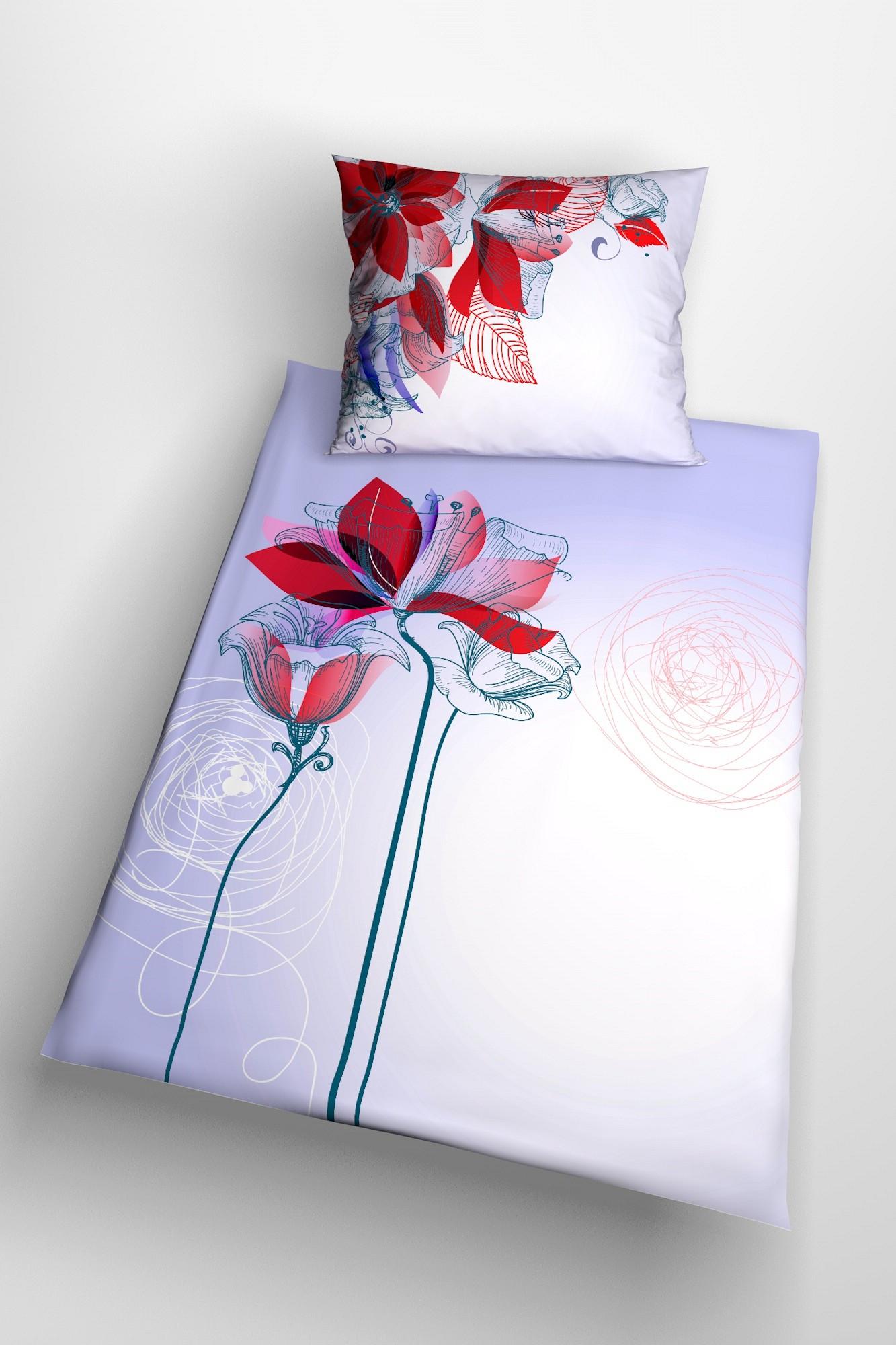 blumen bettw sche aus weichem satin mit roten bl ten glamonde. Black Bedroom Furniture Sets. Home Design Ideas