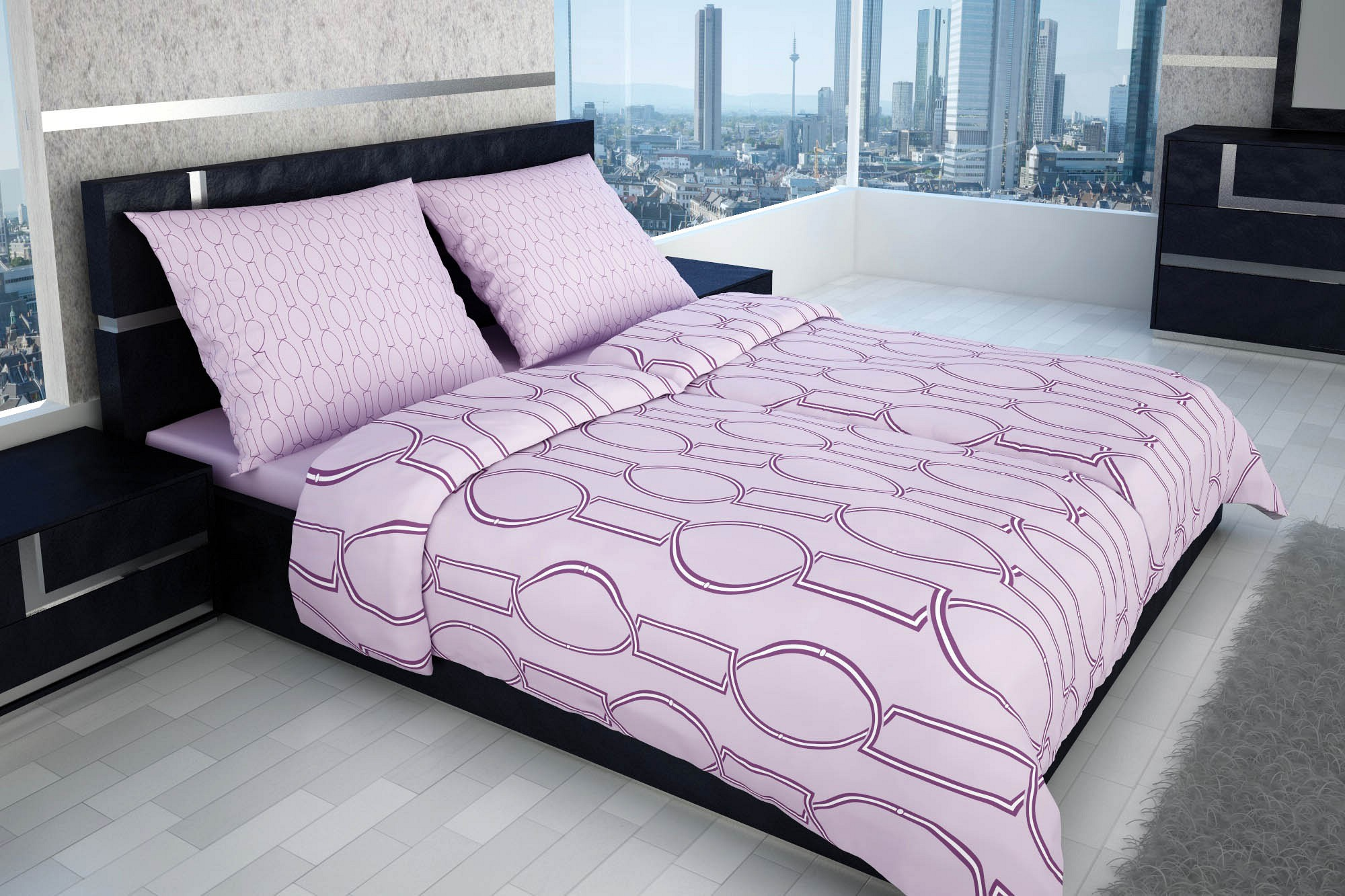 hochwertige bettw sche in flieder mit ruhigem muster glamonde. Black Bedroom Furniture Sets. Home Design Ideas